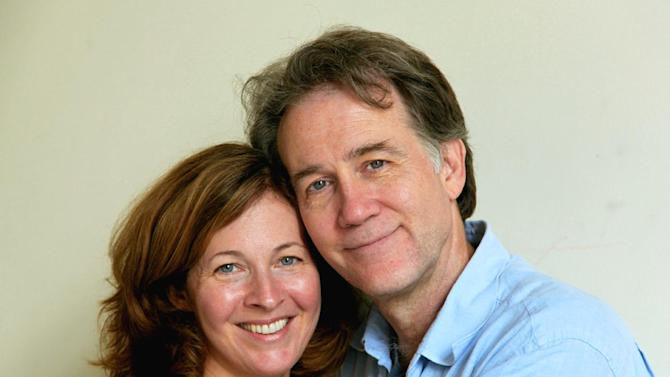"""FILE - This Aug. 22, 2012 file photo shows the actors Boyd Gaines and Kathleen McNenny after rehearsals in New York for the play, Manhattan Theatre Club's """"An Enemy of the People."""" They began dating after meeting during a 1992 Public Theater production of William Shakespeare's """"The Comedy of Errors"""" in Central Park. (AP Photo/Mark Kennedy, File)"""