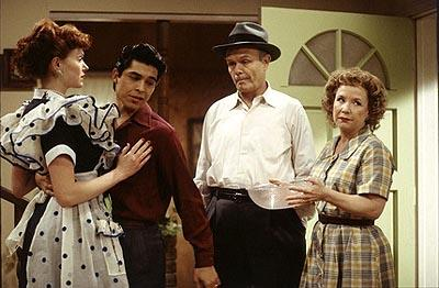 "L-R Donna (Laura Prepon), Fez (Wilmer Valderrama), Red (Kurtwood Smith) and Kitty (Debra Jo Rupp) re-visit Fifties style on the ""Fez Dates Donna"" episode of Fox's That 70s Show"