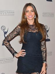 "Sofia Vergara, 40, rocked a black lace dress, black sheer tights, black pumps, and her new engagement ring at the Academy of Television Arts & Sciences' Performers Peer Group cocktail reception in L.A. on Monday. Supporting comedy actress nominee Vergara reportedly agreed to say ""I do"" to boyfriend of two years Nick Loeb last month. No wonder the Colombian beauty looks so happy! (8/20/2012)"