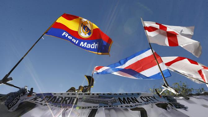 General view of flags outside the stadium before the match