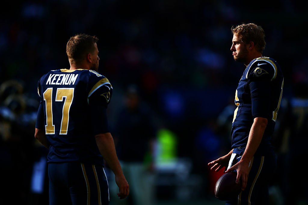 Case Keenum and Jared Goff are befuddled in London. (Getty Images)