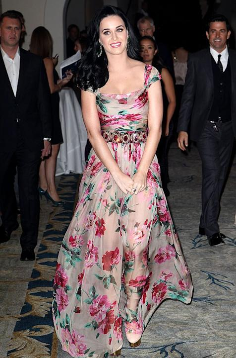 Katy Perry has a style all her own – bright, bold, and over the top. So this floral Dolce & Gabbana dress, which the singer wore to the Dream Foundation Celebration of Dreams, was like a breath of fre