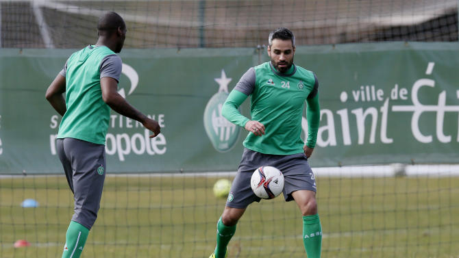 St Etienne's Loic Perrin during training