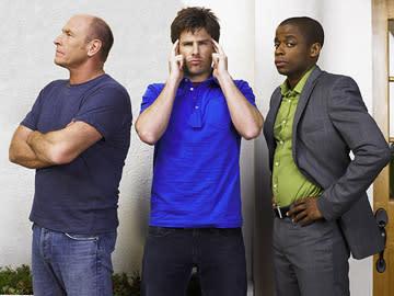"Corbin Bernsen, James Roday and Dule Hill in ""Psych."""
