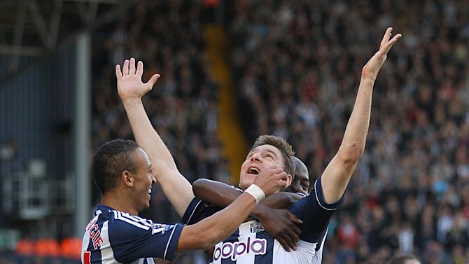 Zoltan Gera, centre, was on target as West Brom beat QPR