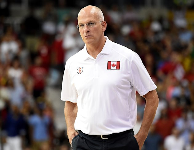 Jay Triano leaves the court after an 86-71 loss to Brazil in the Pan Am gold medal final. (Photo by Harry How/Getty Images)