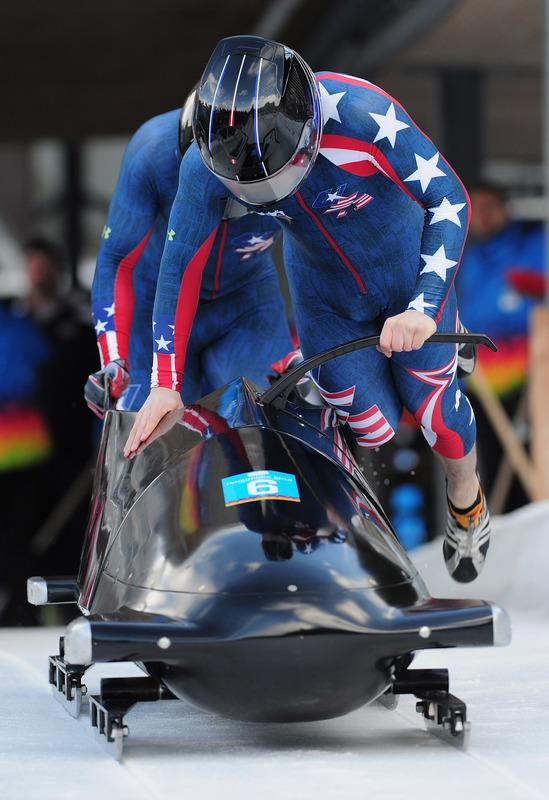 Codie Bascue And Jake Peterson Of USA At The Start Of The Two-Man Bobsleigh Event At The Olympic Sliding Centre On Getty Images