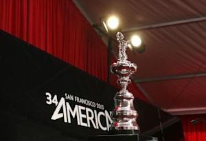 The America's Cup is shown prior to a news conference in San Francisco