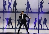 Lithuania Donny Montell perform during rehearsal for the final show of the 2012 Eurovision Song Contest at the Baku Crystal Hall in Baku, Friday, May 25, 2012. The finals of the 2012 Eurovision Song Contest will be held at the stadium on May 26, 2012. (AP Photo/Sergey Ponomarev)