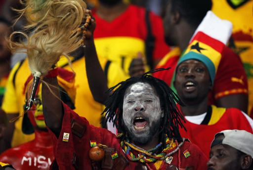 Ghana's fans cheer before the final of the 2015 African Cup of Nations soccer tournament between Ivory Coast and Ghana in Bata