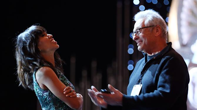 Actress Kerry Washington, left, laughs while talking to Hawk Koch, president of The Academy of Motion Picture Arts and Sciences, during rehearsals for the 85th Academy Awards in Los Angeles, Saturday, Feb. 23, 2013. The Academy Awards are scheduled for Sunday, Feb. 24, 2013. (Photo by Matt Sayles/Invision/AP)