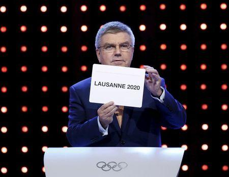Thomas Bach, president of the IOC, announces Lausanne as the city to host the 2020 Youth Olympics, during the 128th International Olympic Committee Session, in Kuala Lumpur