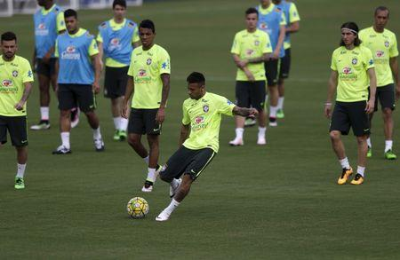 Football Soccer - Brazil training session - 2018 FIFA World Cup qualifiers matches- Teresopolis, Brazil- 22/3/16