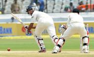 Indian cricketer Cheteshwar Pujara plays a shot during the opening day of the first Test match against New Zealand at the Rajiv Gandhi International cricket stadium in Hyderabad on August 23. Pujara hit an impressive half-century on his comeback as India reached 182-3 at tea