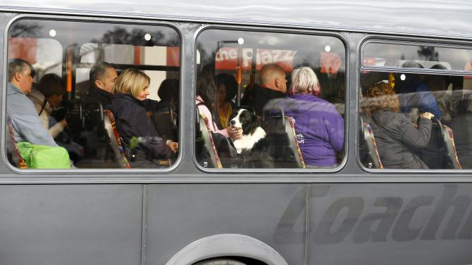 A dog arrives on a bus for the first day of the Crufts Dog Show in Birmingham
