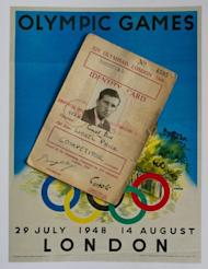An identity card and poster used by British Olympian Lionel Price during the 1948 Olympic Games. Price, 85, is the last surviving member of Great Britain's 1948 Olympic basketball team