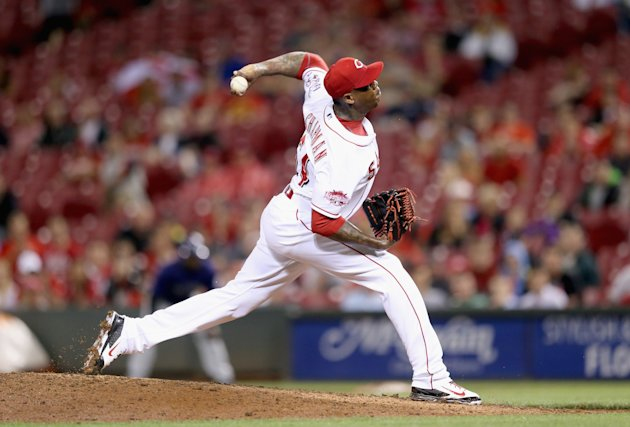 CINCINNATI, OH - MAY 26: Aroldis Chapman #54 of the Cincinnati Reds throws a pitch in the 9th inning against the Colorado Rockies at Great American Ball Park on May 26, 2015 in Cincinnati, Ohio. (Photo by Andy Lyons/Getty Images)