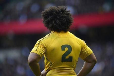 The back of Australia's Polota-Nau is seen during their international Rugby Union match against England at Twickenham stadium in London