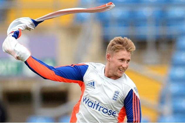 Cricket: England's Joe Root celebrates a goal during nets