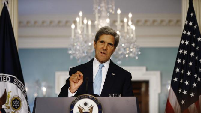 U.S. Secretary of State Kerry speaks about the situation in Syria at the State Department in Washington