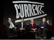 """From left to right, Current TV President David Bohrman, Cenk Uygur, host of the new television show """"The Young Turks with Cenk Uygur,"""" Jennifer Granholm, former Michigan Governor and host of the new television show """"The War Room with Jennifer Granholm,"""" and Al Gore, Former Vice President and Current TV Chairman and Co-Founder, participate in the Current TV portion of the Television Critics Association Winter Press Tour in Pasadena , Calif. on Friday, Jan. 13, 2012. (AP Photo/Danny Moloshok)"""