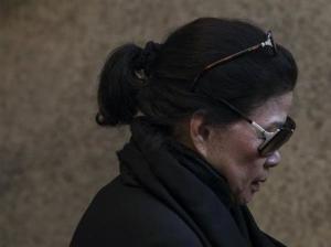 Vilma Bautista, the ex-secretary of former Philippine first lady Imelda Marcos, leaves Manhattan Criminal Court in New York