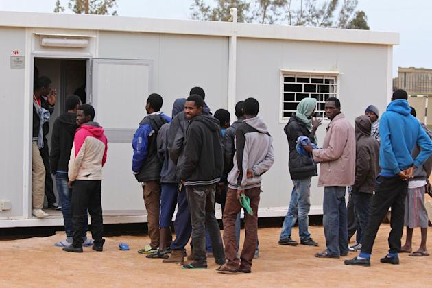 A group of Senegalese illegal immigrants are held at the Alkarareem immigration centre in the east of Misrata