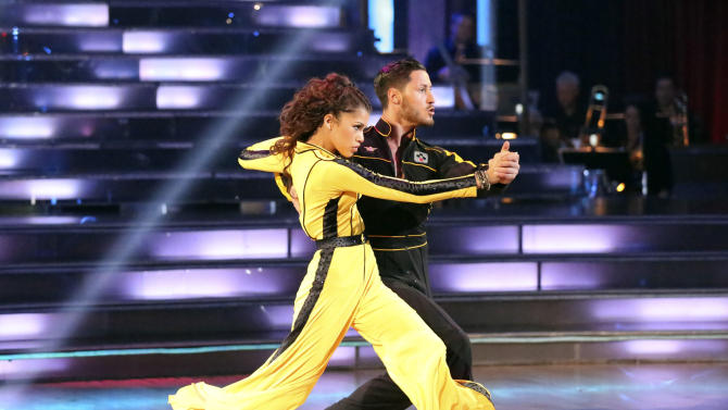 "This May 13, 2013 photo released by ABC shows actress Zendaya Coleman and her partner Val Chmerkovskiy performing on the celebrity dance competition series ""Dancing with the Stars,"" in Los Angeles. Zendaya is one of four celebrities competing in the finals Monday, May 20.  A winner will be announced on Tuesday. (AP Photo/ABC, Adam Taylor)"