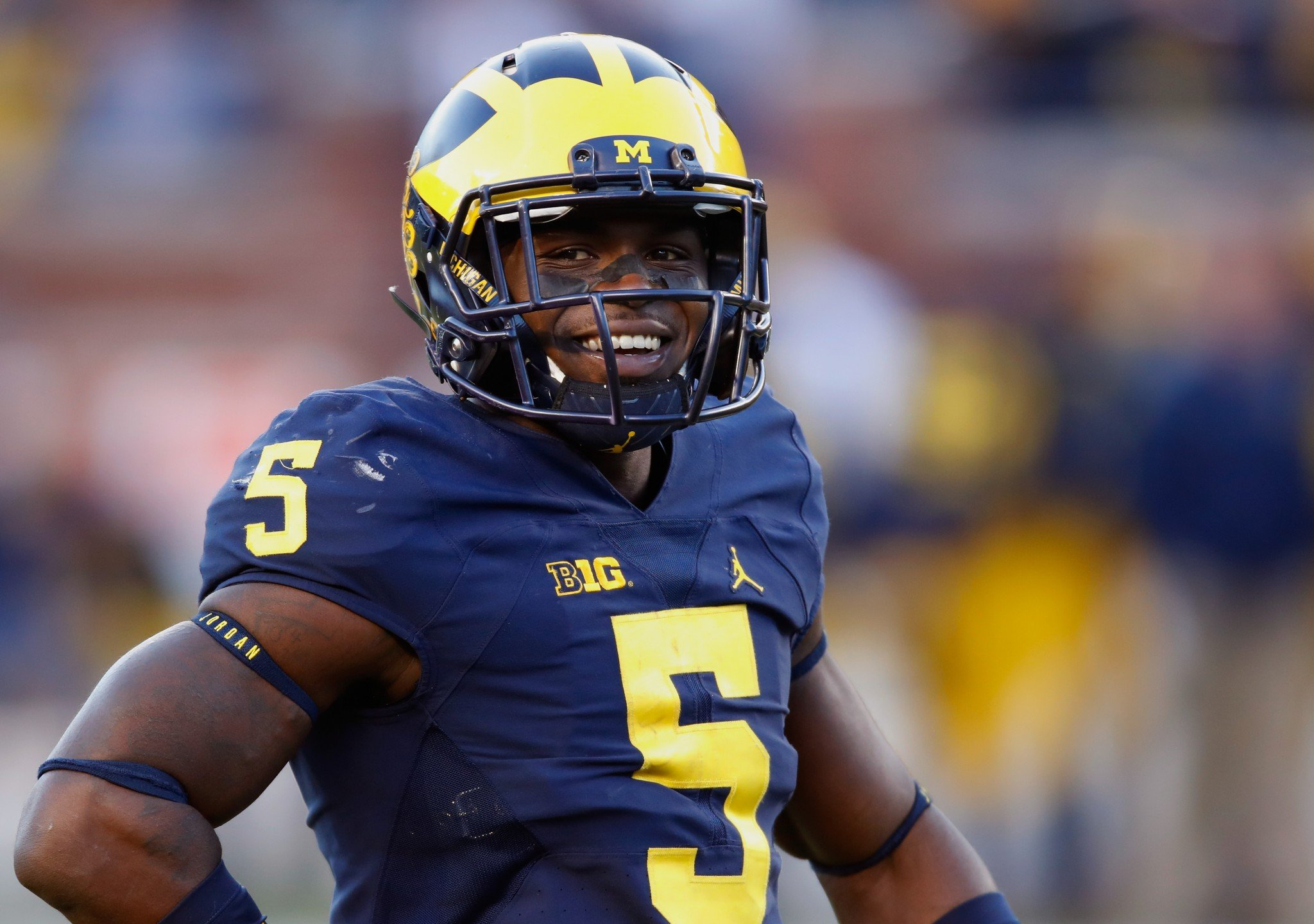 Jabrill Peppers was smiling during Michigan's win over Illinois. (Getty)