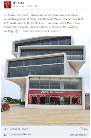 Social Media Strategy Review: Restaurants and Cafes image KFC new store opening update