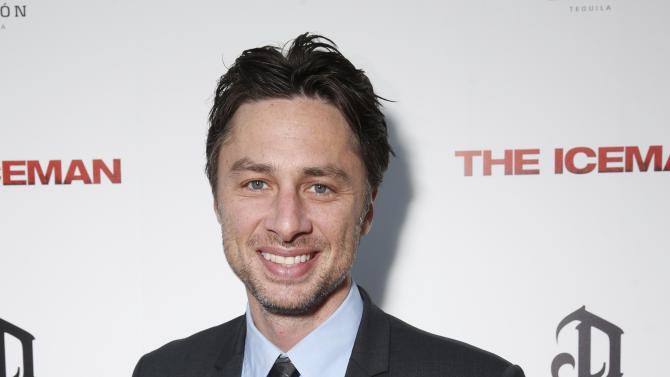 """FILE - This April 22, 2013 file photo provided by Millennium shows actor Zach Braff at the DeLeon Tequila special screening  of """"The Iceman"""" at the Arclight in Los Angeles. In the wake of the enormously successful """"Veronica Mars"""" Kickstarter campaign, Zach Braff is turning to crowd-funding to help realize a goal he's had since his 2004 film """"Garden State"""": make another movie. The """"Scrubs"""" star on Wednesday, April 24, 2013 launched a campaign to raise $2 million from fans on Kickstarter. (AP Photo/ Millennium, Todd Williamson, File)"""