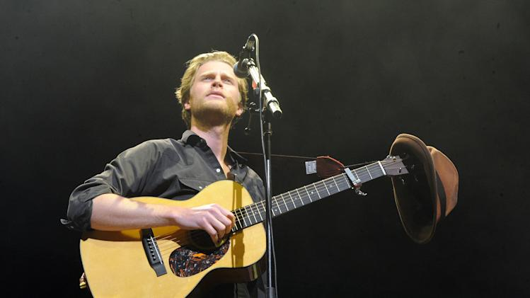 "FILE - This Dec. 8, 2012 file photo shows Wesley Schultz of The Lumineers performing at KROQ Almost Acoustic Christmas in Los Angeles.  The Lumineers', ""Ho Hey"" was the top streamed track on Spotify for the week of Dec. 3. (Photo by Katy Winn/Invision/AP, file)"