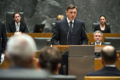 Newly elected President of Slovenia Borut Pahor speaks during the formal sitting of the national assembly on Independence and Unity Day in Ljubljana, on December 22, 2012. Pahor was sworn in as president on Saturday and promised to bridge the deep gap between the ruling coalition and the centre-left opposition.