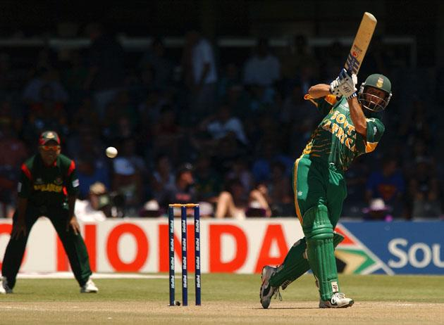 Gary Kirsten of South Africa hits four runs