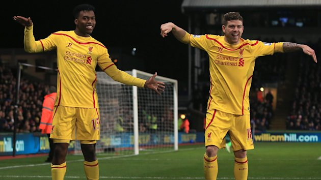 Daniel Sturridge and Alberto Moreno dance