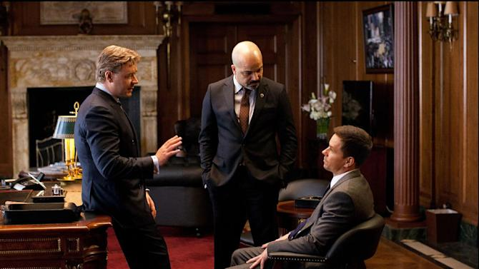 "This film image released by 20th Century Fox shows Russell Crowe, left, Jeffrey Wright and Mark Wahlberg, right, in a scene from ""Broken City."" (AP Photo/20th Century Fox, Alan Markfield)"