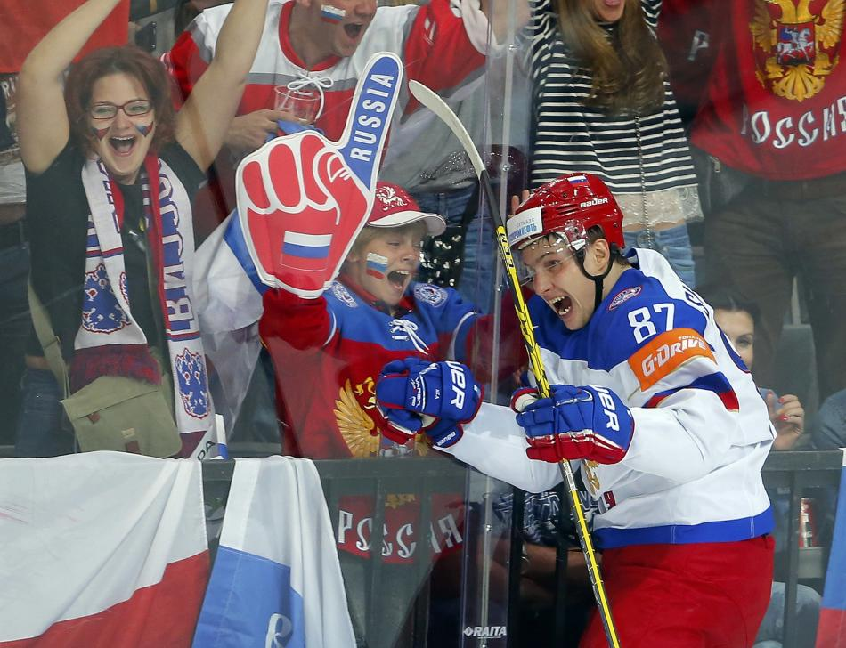 Russia's Shipachyov celebrates after scoring a goal against the U.S. during their Ice Hockey World Championship semifinal game at the O2 arena in Prague