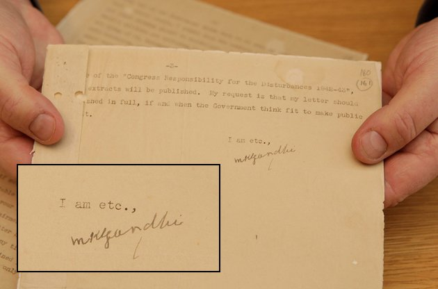 A letter signed by Gandhi is up for auction (SWNS)