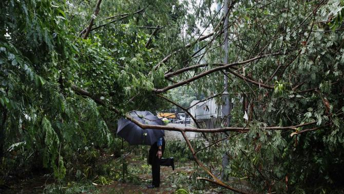 A man walks under fallen branches on a pavement at a residential district after Typhoon Usagi hit Hong Kong