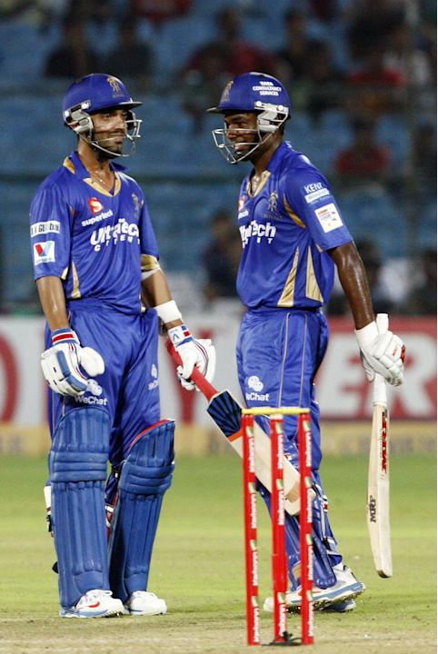 Rajasthan Royals batsman Sanju Samson and Ajinkya Rahane against Perth Scorchers during the CLT20 match at Sawai Mansingh Stadium, Jaipur on Sept. 29, 2013. (Photo: IANS)
