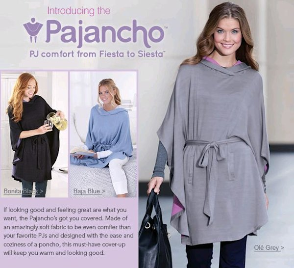 The pajancho is a poncho, pyjamas, and blanket all rolled into one. (pajamagram.com)