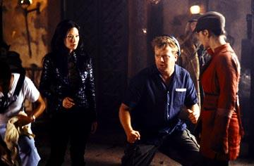 Director McG with Lucy Liu and Drew Barrymore on the set of Columbia's Charlie's Angels: Full Throttle