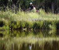 Ryo Ishikawa of Japan walks out of a tee box during round one of the 94th PGA Championship on Kiawah Island, South Carolina