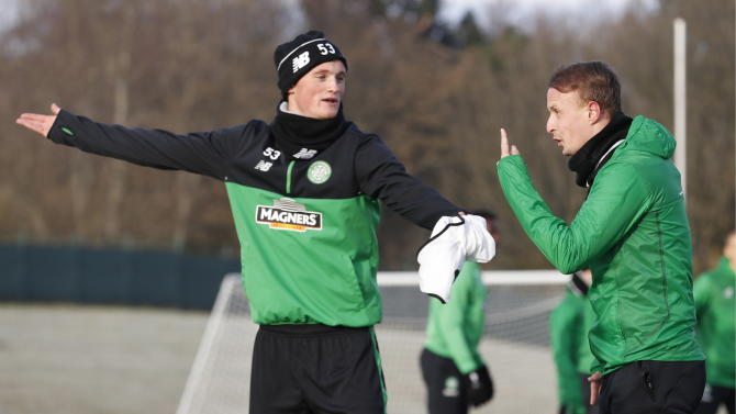 Celtic's Liam Henderson and Leigh Griffiths during training