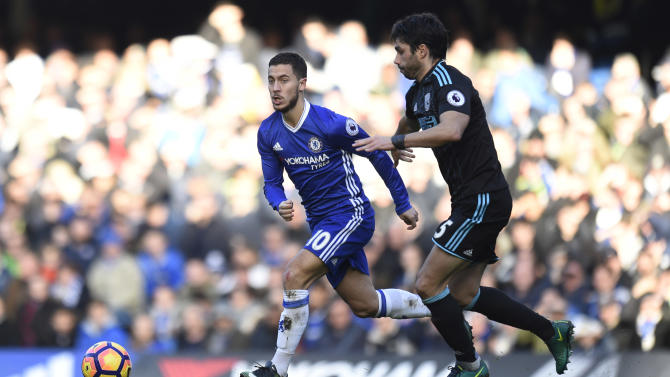 Chelsea's Eden Hazard in action with West Bromwich Albion's Claudio Yacob