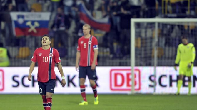 Norway's El Younoussi reacts after Slovenia's third goal during their World Cup 2014 qualifier soccer match in Maribor