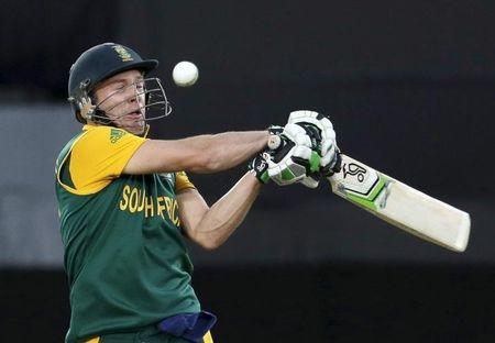 South Africa's AB de Villiers plays a shot during his Cricket World Cup semi-final match against New Zealand in Auckland