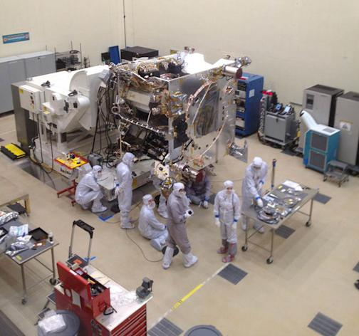 NASA's next Mars mission, Maven, is being prepared for its mission within Lockheed Martin's high-bay cleanroom at a facility in Littleton, Colo.