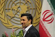 This file photo shows Iran's President Mahmoud Ahmadinejad arriving to meet with UN Secretary-General Ban Ki-moon during the 66th UN General Assembly at the United Nations headquarters in New York, in 2011. Ahmadinejad was to leave Tehran for New York on Saturday for the UN General Assembly, where he will deliver his final speech to the world gathering, state television reported