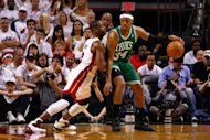 Boston Celtics' Paul Pierce and Miami Heat's Dwyane Wade during game five of their NBA Eastern Conference finals on June 5. Boston moved to within one victory of the NBA Finals as they beat Miami 94-90